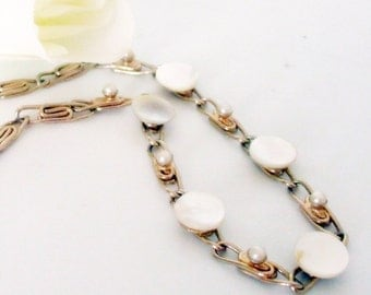 Pearl Necklace- 1960 Choker- Pearl Choker- Mid Century Choker- Mother of Pearl Choker -Gold Scroll Chain Necklace-