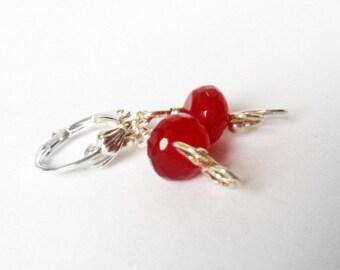 Earrings- Ruby- Wire Wrapped-  Silver Dangles- Gemstone- Handmade Jewelry