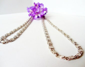 Scroll Link Silver Chain- Vintage Avon- 30 Inches- 1970s