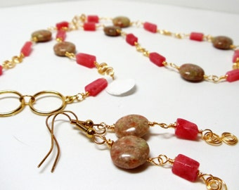 Gemstone Necklace- Wire Wrapped Necklace- 2 Piece Necklace Set- Unakite Necklace- Cherry Adventurine Necklace- Necklace Earring Set