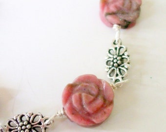 Rhodonite Necklace- Wire Wrap Necklace- Pink Necklace- Floral Necklace- 2 Piece Necklace Set- Necklace Earring Set- Flower Necklace