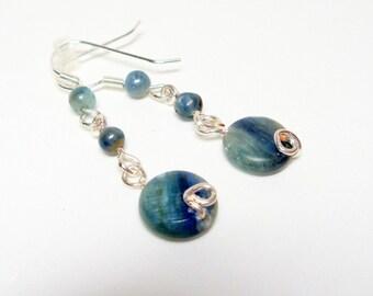Kyanite Wire Wrapped Earrings- Drops- Gemstone- Handmade Jewelry
