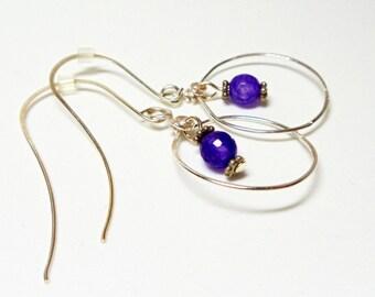 Amethyst Earrings- Wire Wrapped- Silver Hoops- Gemstone- Handmade Jewelry