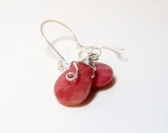 Earrings- Rhodonite-  Faceted- Teardrops- Wire Wrapped- Gemstone- Handmade Jewelry