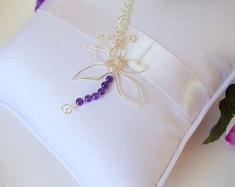 Dragonfly Pendant- Amethyst- Silver Wire Wrapped- Gemstone- Necklace- Handmade Jewelry