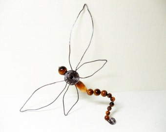 Dragonfly Brooch- Wire Wrap Dragonfly- Dragonfly Scarf Pin- Tigers Eye Dragonfly- Magnetic Scarf Pin- Tigers Eye Scarf Pin- Magnetic Brooch