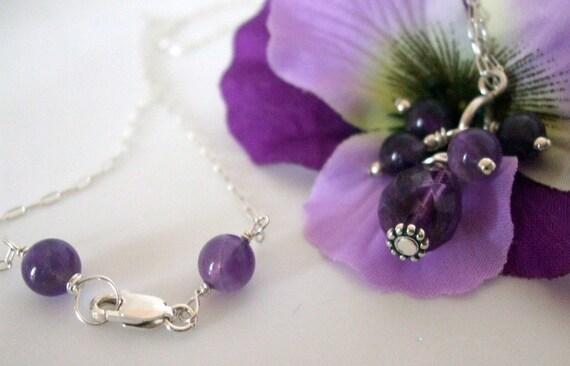 Amethyst Wire Wrapped Necklace- Tear Drop- 2 Piece Set- Gemstone Necklace-  Handmade  Jewelry