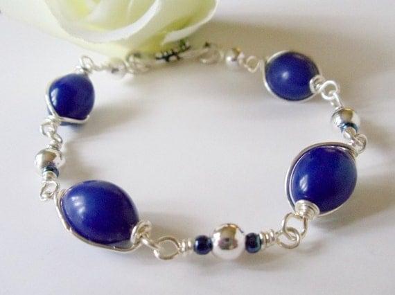 Lapis Lazuli Bracelet- Wire Wrapped- Silver- Gemstone- Handmade Jewelry