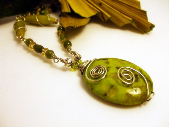 Green Marble Necklace- Wire Wrapped- 2 Piece Set- Handmade Jewelry-Greener Pastures