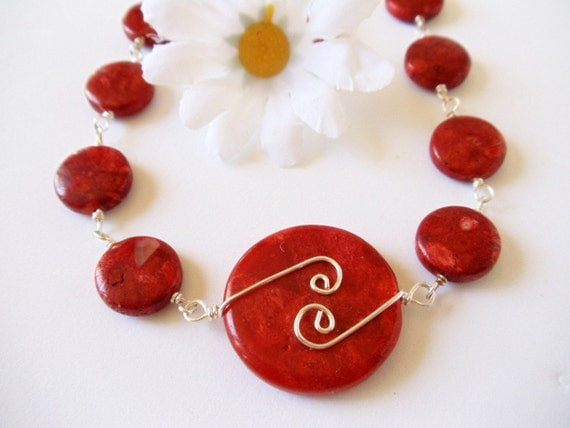 Red Coral Necklace-  Fine Silver Wire Wrapped- Gemstone- Handmade Jewelry