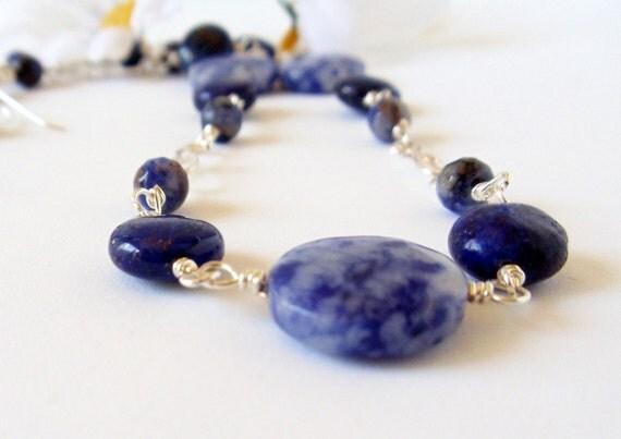 Lapis Lazuli  Necklace-  Wire Wrapped- 2 Piece Set- Sodalite- Gemstone- Handmade Jewelry