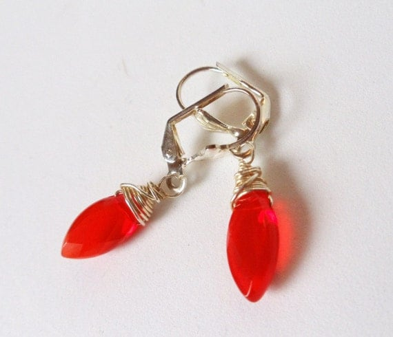 Wire Wrapped Earrings- Red Quartz- Faceted Marquise- Dangles- Gemstone- Handmade Jewelry