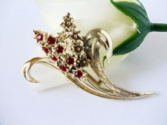 Silver Brooch- Hyacinth - Floral Pin- Red Rhinestones- 1960s- Vintage