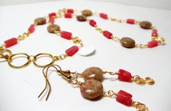 Gemstone Necklace- Wire Wrapped Necklace- 2 Piece Necklace Set- Unakite Necklace- Cherry Adventurine Necklace- Necklace Earring Set