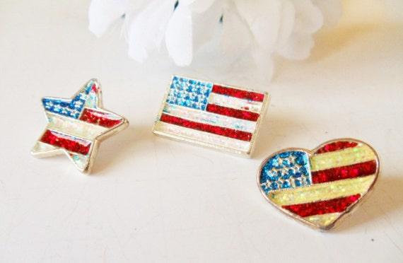 Three Stars and Stripes Pins Heart, Star, Flag
