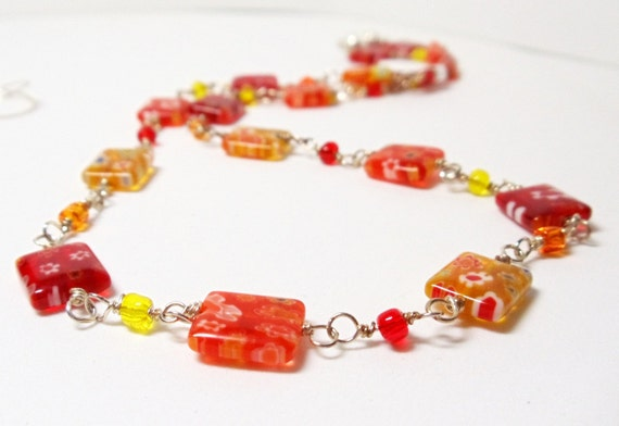 Millefiori Necklace- 2 PieceSet-  Colorful Glass- Wire Wrapped- Handmade Jewelry