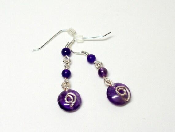 Earrings- Amethyst- Wire Wrapped- Drops- Gemstone- Handmade Jewelry