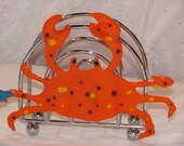 Orange Crab fused glass and chrome napkin holder