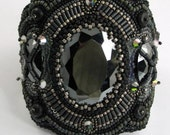 Mysterious Midnight Mirrors:  Black Bead Embroidery Cuff first lay a way payment KIM