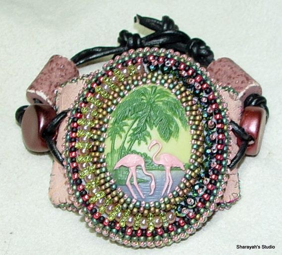 Dazzlin' Flamingo Bead Embroidered Cuff Bracelet:SALE Now 75.00 was 115.00