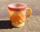 Fire King mug orange anchor hocking handpicked