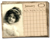 DIY- Printable Wall Calendar with Lovely Vintage Postcard Images - Monthly Organizer