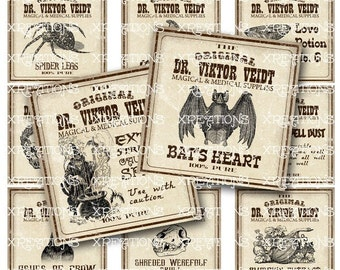Antique Apothecary, Potion Labels, Digital Collage Sheet, 2x2in/50mm squares