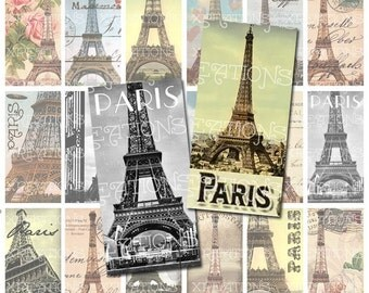 Digital Collage Sheet - Paris, Eiffel Tower Theme - 1x2 inches Domino size