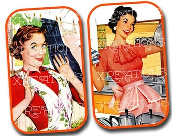 Retro Vintage Ads Digital Collage Sheet for DIY pill cases, tin cans or tags