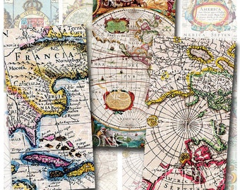Antique Maps, Vintage Maps from the 1800s to the early 1900s in 1x2 inches rectangle domino tile size, Digital Collage Sheet, Print Your Own