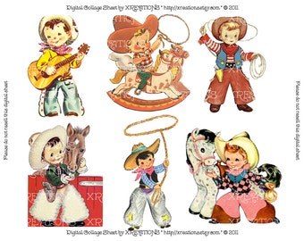 Cute Little Cowboys Vintage Greeting Card Cutouts - Digital Collage Sheet