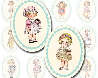 Cute and Pretty Vintage Paper Dolls with border in 30x40mm Ovals, Digital Collage Sheet