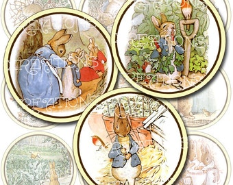 Vintage Illustrations of Little Peter Rabbit in 2 inches circles - digital collage sheet