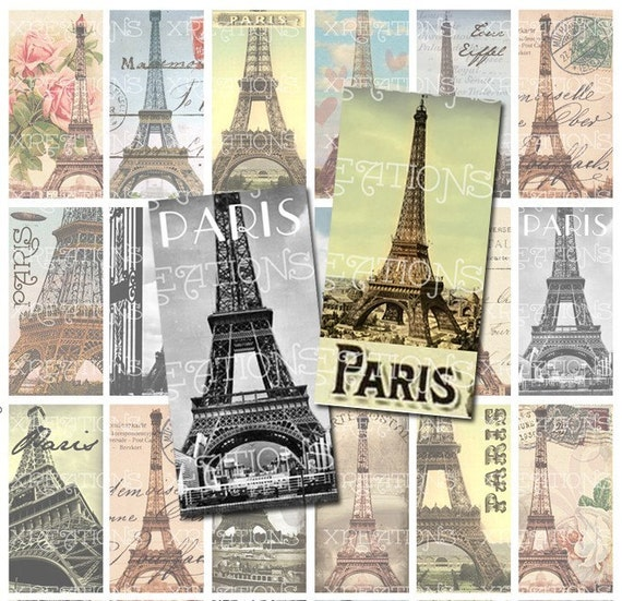digital collage sheet paris eiffel tower theme 1x2 inches domino size instant download. Black Bedroom Furniture Sets. Home Design Ideas