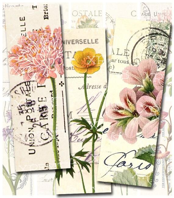 Vintage Botanical Flowers on Vintage Postcards - 1x3 inches rectangles - Digital Collage Sheet - For Glass, Microslide Pendants