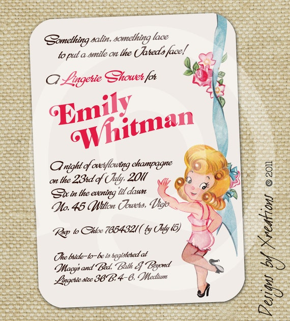 Wedding Gift Card Quotes: Items Similar To Cute Lingerie Bridal Shower Invitation