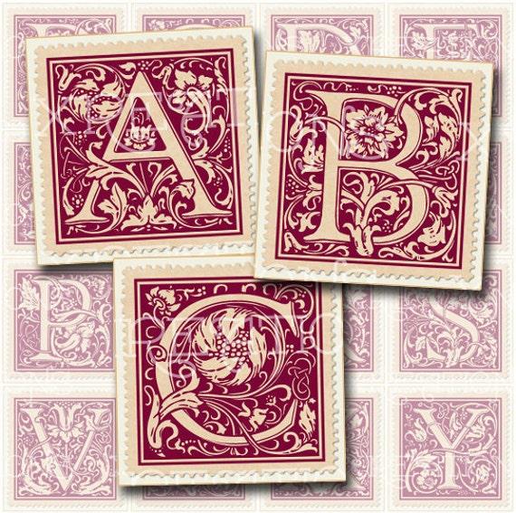 Vintage Alphabet Postage Stamps - 1 inch squares - Digital Collage Sheet - ABC (old maroon color)