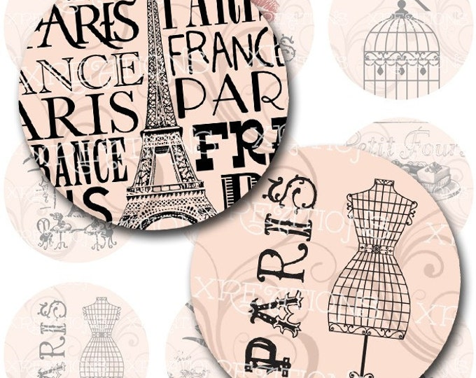 French Themed Vintage Style Digital Collage Sheet 2 inches circles