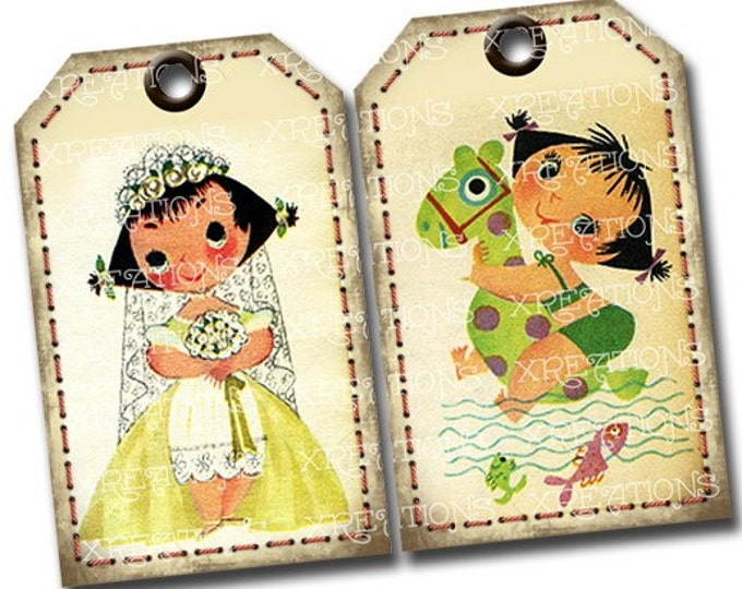 Cute and Lovely Vintage Ice Cream Ad Characters Hangtags