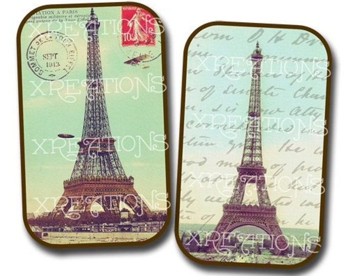Eiffel Tower Postcard Stickers for DIY tin cans, cards and tags -printable - instant download