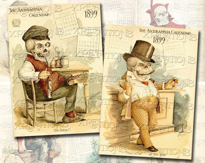 """Vintage """"Funny Bones"""" Illustrations by Louis Crucius in ATC - ACEO Size"""
