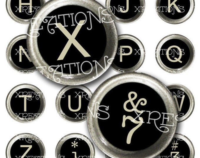 Vintage Typewriter Key Circles - Black - Digital Collage Sheet