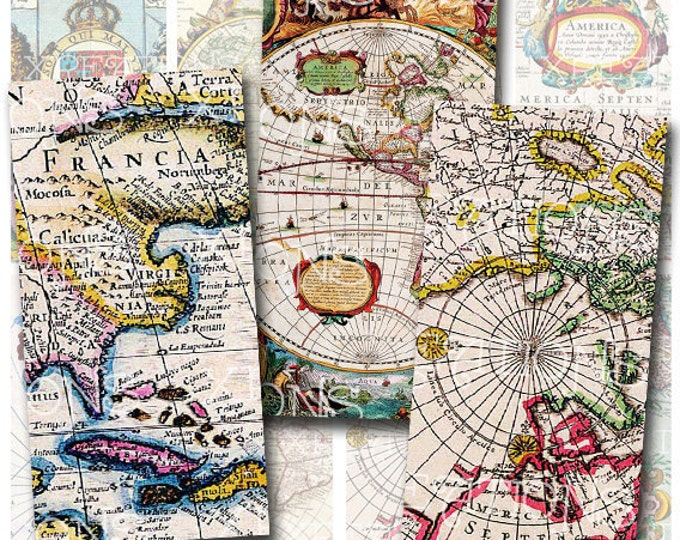 Antique Maps - Vintage Maps from the 1800s to the early 1900s - 1x2 inches rectangle domino tile size - Digital Collage Sheet