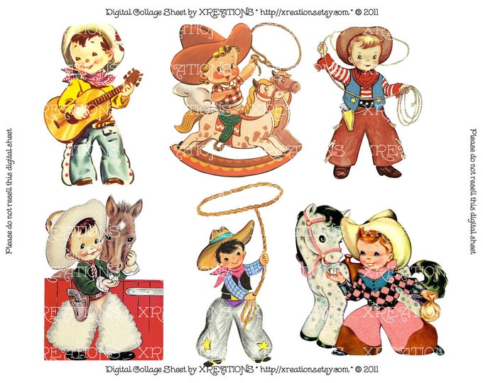 Cute Little Cowboys Vintage Greeting Card Cutouts - Digital Collage Sheet