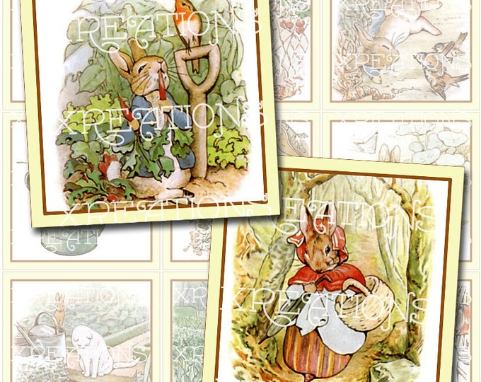 Vintage Illustrations of Little Peter Rabbit in 2x2 inches squares - digital collage sheet