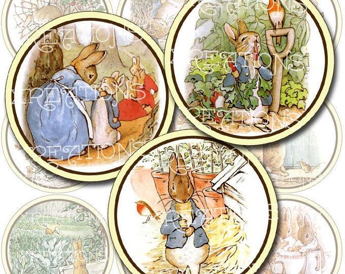 Vintage Illustrations of Little Peter Rabbit in 2 inches circles, digital collage sheet, Instant Download, Print Your Own