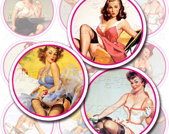 Sexy and naughty Pin Ups Girls - 2 inch circles - cupcake toppers - Digital Collage Sheet