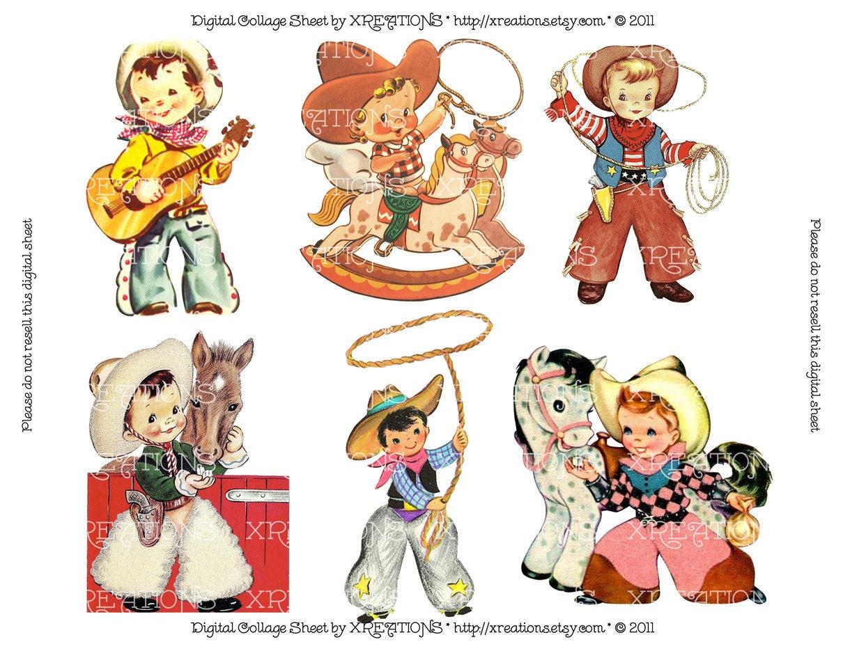 Cute Little Cowboys Vintage Greeting Card by PinkPaperTrail