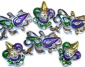 Set Of Six 2 Hole Slider Beads Mardi Gras Masquerade Jester Mask Purple Green Gold Epoxy Antiqued Silver Plated New Orleans Mardi Gras Beads