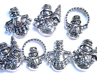 Seven 2 Hole Slider Beads Adorable Snowman Winter Holiday Christmas Antiqued Silver Plated 3 Different Designs